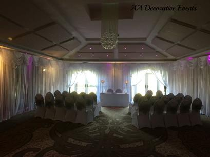 Cereomony Room Drapes - Formby Hall Weddings