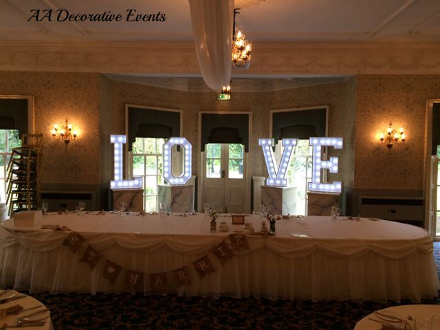 LOVE Letter Hire for weddings - Wigan