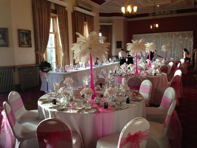 Ostrich Feather Centrepiece for weddings - Haigh hall, Wigan, Cheshire