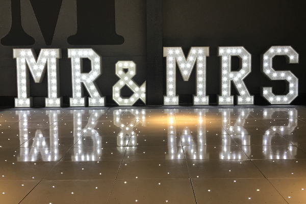 Light Up Mr & Mrs Letters to hire for your wedding across Liverpool and Surrounding Areas