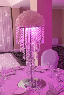 Floral Arrangement and Crystal Drop Table Centrepiece